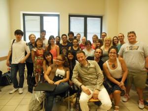 Antonio with Students at Siena University
